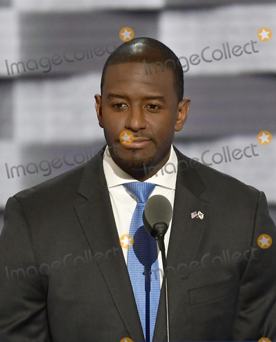 Andrew Gillum Photo - Mayor Andrew Gillum (Democrat of Tallahassee Florida) makes remarks during the third session of the 2016 Democratic National Convention at the Wells Fargo Center in Philadelphia Pennsylvania on Wednesday July 27 2016 Photo Credit Ron SachsCNPAdMedia