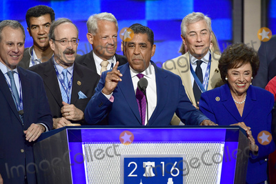 Adriano Espaillat Photo - State Senator Adriano Espaillat (Democrat of New York) is surrounded by New York politicians as he makes remarks at the 2016 Democratic National Convention at the Wells Fargo Center in Philadelphia Pennsylvania on Monday July 25 2016 Photo Credit Ron SachsCNPAdMedia