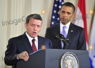 Abdullah II of Jordan Photo - Peace Talks8249JPGRESTRICTED NEW YORKNEW JERSEY OUTNO NEW YORK OR NEW JERSEY NEWSPAPERS WITHIN A 75 MILE RADIUS OF NYCKing Abdullah II of Jordan makes remarks as United States President Barack Obama looks on in the East Room of the White House following a series bi-lateral meetings in Washington DC on Wednesday September 1 2010  The statements are in advance of the opening of the first direct talks in two years between Israel and the Palestinian Authority scheduled to begin at the State Department in Washington DC tomorrow  Photo by Ron SachsPoolCNP-PHOTOlinknet