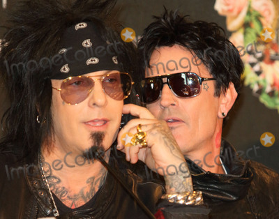 Motley Crue Photo - London UK Tommy Lee and Nikki Sixx at the last ever European press conference for Motley Crue at Law Society on June 9 2015 in London EnglandRef LMK73-51440-090615Keith MayhewLandmark Media WWWLMKMEDIACOM