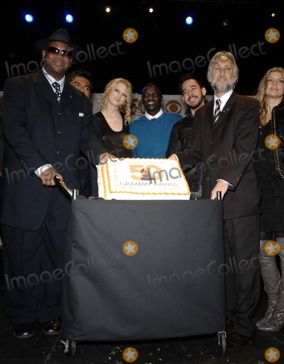 Jimmy Jam Photo - Jimmy Jam Harris George Lopez Taylor Swife Akon Mike Shinoda Neil Portnow and Fergie during the announcement of the nominations for the 50th Annual Grammy Awards held at the Music Box Theater at the Fonda on 12-06-2007 in Los AngelesPhoto Michael Germana-Globe Photos Inc  2007K55790MGE