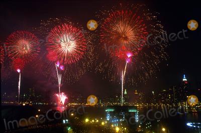 MANHATTAN SKYLINE Photo - July 4th Macys Fireworks in the East River Facing Manhattan Skyline July 4 2000 Photo Bruce Cotler