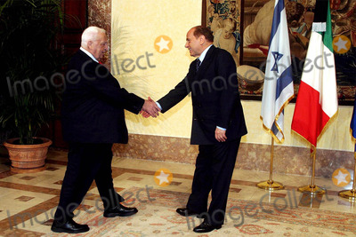 Ariel Sharon Photo - Rome Israelian Prime Minister in Italy Pic Show Prime Minister Silvio Berlusconi and Ariel Sharon 11182003 Photo Bymauro ScrobognalapresseGlobe Photos Inc 2003