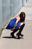 Photos From Playboy TV Host Erika Jordan in a short dress on a windy day