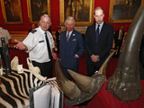 Photos From Britain's Princes Charles and William are shown items made from endangered animals in central London