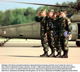 Andrew Ramirez Photo - K14433JKEL     050299990502-F-4406B-504Staff Sgts Chris Stone and Andrew Ramirez Specialist Steven Gonzales and their escort salute the colors on their return to Ramstein Air Base Germany on May 2 1999  Stone Ramirez and Gonzales are the three soldiers from the US Armys 1st Infantry Division who were captured by Yugoslavian forces during NATO Operation Allied Force  DoD photo by Staff Sgt Ken Bergmann US Air Force (Released)Supplied by Globe Photos Inc 1999