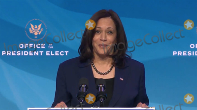 Queen Photo - United States Vice President-elect Kamala Harris makes remarks after US President-elect Joe Biden made remarks introducing key members of his economic and jobs team from the Queen Theatre in Wilmington Delaware on Friday January 8 2021 Credit Biden Transition TV via CNPAdMedia