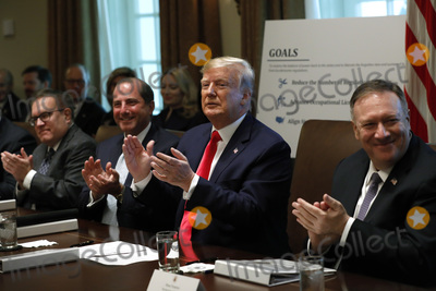 Andrew Wheeler Photo - United States President Donald J Trump (C) and members of the government applaud during a Cabinet Meeting at the White House in Washington DC on October 21 2019 Pictured from left to right Administrator of the US Environmental Protection Agency Andrew Wheeler US Secretary of Health and Human Services (HHS) Alex Azar The President and US Secretary of State Mike Pompeo Photo Credit Yuri GripasCNPAdMedia