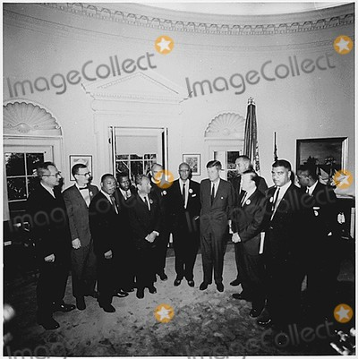 Martin Luther King Jr Photo - Washington DC -- Photograph of the Presidents meeting with the leaders of the March on Washington on August 28 1963  Left to Right Willard Wirtz Martin Luther King Jr Eugene Carson Blake John F Kennedy Lyndon Baines Johnson Walter Reuther Others not in order A Philip Randolph John Lewis Whitney Young Mathew Ahmann Joachin Prinz Roy Wilkins Floyd McKissickCredit White House via CNPAdMedia