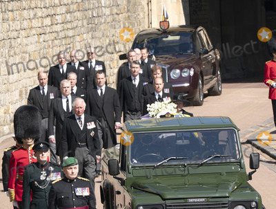Prince William Photo - Photo Must Be Credited Alpha Press 073074 17042021Princess Anne Princess Royal Prince Charles Prince of Wales Prince Andrew Duke of York Prince Edward Earl of Wessex Prince William Duke of Cambridge Peter Phillips Prince Harry Duke of Sussex Earl of Snowdon Viscount Lord David Linley David Armstrong-Jones and Vice-Admiral Sir Timothy Laurence follow Prince Philip Duke of Edinburghs coffin on a modified Jaguar Land Rover during the Ceremonial Procession during the funeral of Prince Philip Duke of Edinburgh at St Georges Chapel in Windsor Castle in Windsor Berkshire No UK Rights Until 28 Days from Picture Shot Date AdMedia