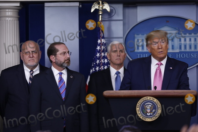 Alex Azar Photo - United States President Donald J Trump delivers remarks during a news conference in the James S Brady Briefing Room of the White House in Washington DC US on Wednesday February 26 2020  Trump joined by members of the Coronavirus Task Force including Director of the Centers for Disease Control and Prevention Dr Robert Redfield left United States Secretary of Health and Human Services (HHS) Alex Azar center left and United States Vice President Mike Pence center right attempted to lessen concerns over the Coronavirus after health officials told lawmakers that it is seemingly inevitable that the disease will spread in the United StatesCredit Stefani Reynolds  CNPAdMedia