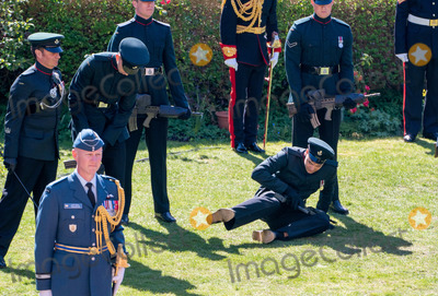 Prince Photo - Photo Must Be Credited Alpha Press 073074 17042021Soldiers of the Rifles faint in the heat during the funeral of Prince Philip Duke of Edinburgh at St Georges Chapel in Windsor Castle in Windsor Berkshire No UK Rights Until 28 Days from Picture Shot Date AdMedia