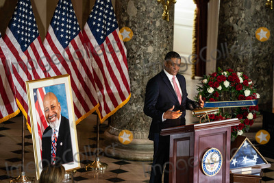 Alcee Hastings Photo - Cedric Richmond Senior Advisor to the President and director of the White House Office of Public Engagement speaks at the ceremony celebrating the life of the late US Representative Alcee Hastings (Democrat of Florida) in Statuary Hall of the Capitol in Washington DC on April 21st 2021Credit Anna Moneymaker  Pool via CNPAdMedia