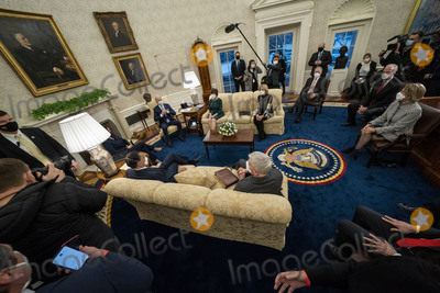 Jerry Moran Photo - United States President Joe Biden and US Vice President Kamala Harris meet with Republican US Senators about the American Rescue Plan in the Oval Office of the White House in Washington DC Monday Feb1 2021 Pictured from the Presidents left US Senator Susan Collins (Republican of Maine) US Senator Lisa Murkowski (Republican of Alaska) US Senator Thom Tillis (Republican of North Carolina) US Senator Jerry Moran (Republican of Kansas) US Senator Shelley Moore Capito (Republican of West Virginia) US Senator Bill Cassidy (Republican of Louisiana) US Senator Mitt Romney (Republican of Utah) Vice President HarrisCredit Doug Mills  Pool via CNPAdMedia