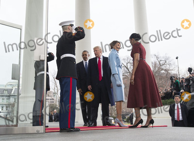 President Barack Obama Photo - President Barack Obama and First Lady Michelle Obama welcome President-elect Donald Trump and his wife Melania to the White House prior to the inauguration in Washington DC on January 20 2017 Later today Donald Trump will be sworn-in as the 45th President Photo Credit Kevin DietschCNPAdMedia