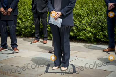 House Speaker Nancy Pelosi Photo - GOP Conference Chairwoman Liz Cheney (R-WY) stands in her taped-off safe distancing square and listens while House Minority Leader Rep Kevin McCarthy (R-Calif) holds a media availability to announce that Republican leaders have filed a lawsuit against House Speaker Nancy Pelosi and congressional officials in an effort to block the House of Representatives from using a proxy voting system to allow for remote voting during the coronavirus pandemic outside of the US Capitol in Washington DC Wednesday May 27 2020 Credit Rod Lamkey  CNPAdMedia