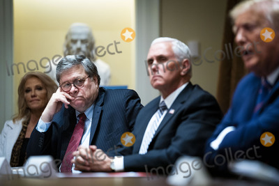 Mike Pence Photo - United States Attorney General William P Barr left center looks on as US President Donald J Trump makes remarks as he participates in a roundtable about senior citizens in the Cabinet Room of the White House Monday June 15 2020  From left to right Senior Counselor Kellyanne Conway US Attorney General William P Barr US Vice President Mike Pence the presidentCredit Doug Mills  Pool via CNPAdMedia