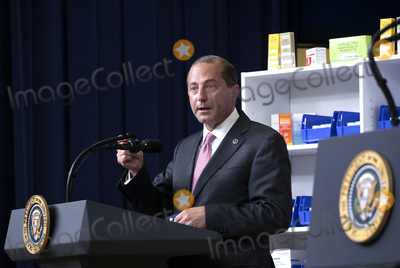 Alex Azar Photo - United States Secretary of Health and Human Services (HHS) Alex Azar speaks during an executive order signing ceremony on lowering drug prices in the Eisenhower Executive Office Building in Washington DC US on Friday July 24 2020 Lowering prescription drug prices is a top priority of Trump including a policy to tie Medicare payments to foreign countries drug prices Credit Stefani Reynolds  Pool via CNPAdMedia