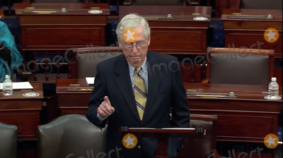 The Used Photo - In this image from United States Senate televisionUnited States Senate Minority Leader Mitch McConnell (Republican of Kentucky) makes remarks following the verdict of the Senate on the single Article of Impeachment against former US President Donald J Trump during Day 5 of the second impeachment trial of the former president in the US Senate in the US Capitol in Washington DC on Saturday February 13 2021Mandatory Credit US Senate TV via CNPAdMedia