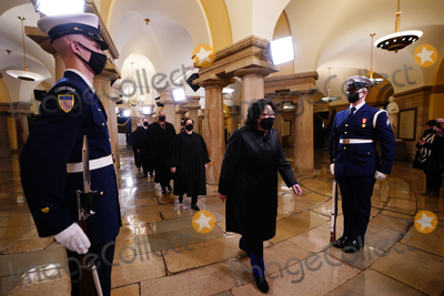 Supremes Photo - Associate Justice Sonya Sotomayor (R) and the US Supreme Court Justices as they arrive in the Crypt of the US Capitol for President-elect Joe Bidens inauguration ceremony to be the 46th President of the United States in Washington DC USA 20 January 2021AdMedia