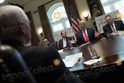Alex Azar Photo - United States President Donald J Trump speaks during a Cabinet Meeting at the White House in Washington DC on October 21 2019 Pictured from left to right US Vice President Mike Pence Administrator of the US Environmental Protection Agency Andrew Wheeler US Secretary of Health and Human Services (HHS) Alex Azar The President US Secretary of State Mike Pompeo Photo Credit Yuri GripasCNPAdMedia