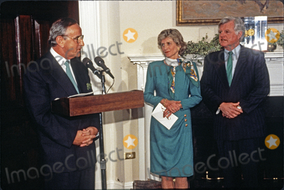 Jean Kennedy-Smith Photo - Taoiseach (Prime Minister) Albert Reynolds of Ireland makes remarks during the ceremony where he will present United States President Bill Clinton with a bowl of shamrocks honoring St Patricks Day with in the Roosevelt Room of the White House in Washington DC on March 17 1993 During his remarks President Clinton announced he was naming Jean Kennedy Smith as US Ambassador to Ireland  From left to right Prime Minister Reynolds Jean Kennedy Smith and US Senator Ted Kennedy (Democrat of Massachusetts)Credit Martin H Simon  Pool via CNPAdMedia