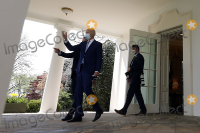 White House Photo - US President Joe Biden walks out from the Oval Office of the White House to welcome guests after deliver remarks on gun violence prevention in Washington on April 8 2021 Credit Yuri Gripas  Pool via CNPAdMedia