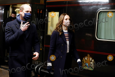 Train Photo - Photo Must Be Credited Alpha Press 073074 07122020Prince William Duke of Cambridge and Kate Duchess of Cambridge Catherine Katherine Middleton disembark the Royal train as they arrive at Manchester Victoria station on their final stop of the day for a visit to FareShare in Manchester FareShare redistributes surplus food from food businesses to 11000 charities and community groups including school breakfast clubs community centres homeless shelters and food banks During their trip their Royal Highnesses hope to pay tribute to individuals organisations and initiatives across the country that have gone above and beyond to support their local communities this year No UK Rights Until 28 Days from Picture Shot Date 7th December 2020 - Prince William Duke of Cambridge and Kate Duchess of Cambridge Catherine Katherine Middleton disembark the Royal train as they arrive at Manchester Victoria station on their final stop of the day for a visit to FareShare in Manchester FareShare redistributes surplus food from food businesses to 11000 charities and community groups including school breakfast clubs community centres homeless shelters and food banks During their trip their Royal Highnesses hope to pay tribute to individuals organisations and initiatives across the country that have gone above and beyond to support their local communities this year Photo Credit ALPRAdMedia
