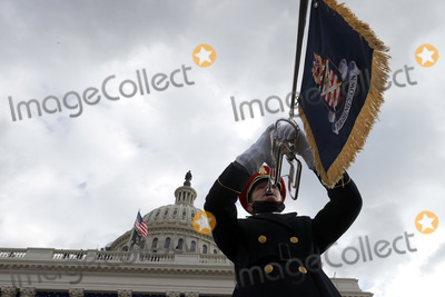 US Army Photo - WASHINGTON DC - JANUARY 20 A member of the US Army Band Pershings Own plays during the inauguration of US President-elect Joe Biden on the West Front of the US Capitol on January 20 2021 in Washington DC  During todays inauguration ceremony Joe Biden becomes the 46th president of the United States (Photo by Tasos KatopodisGetty Images)AdMedia