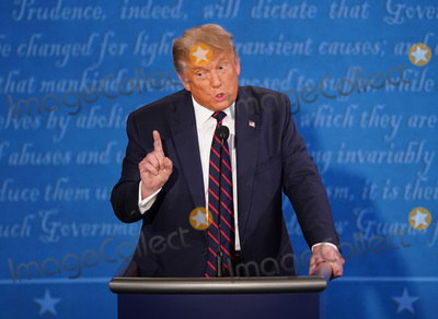 Presidential Campaign Photo - President Donald Trump speaks during the first of three scheduled 90 minute presidential debates with Democratic presidential nominee Joe Biden in Cleveland Ohio on Tuesday September 29 2020 Credit Kevin Dietsch  Pool via CNPAdMedia