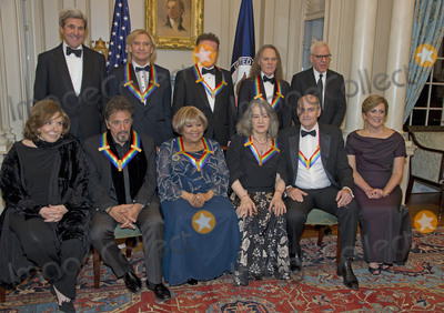 The Eagles Photo - The five recipients of the 39th Annual Kennedy Center Honors pose for a group photo following a dinner hosted by United States Secretary of State John F Kerry in their honor at the US Department of State in Washington DC on Saturday December 3 2016  The 2016 honorees are Argentine pianist Martha Argerich rock band the Eagles screen and stage actor Al Pacino gospel and blues singer Mavis Staples and musician James Taylor  From left to right back row United States Secretary of State John Kerry Joe Walsh Don Henley and Timothy B Schmidt of the rock band The Eagles  and David M Rubenstein Chairman John F Kennedy Center for the Performing Arts  Front row left to right Teresa Heinz-Kerry Al Pacino Mavis Staples Martha Argerich James Taylor and Deborah F Rutter President of the John F Kennedy Center for the Performing ArtsCredit Ron Sachs  Pool via CNPAdMedia
