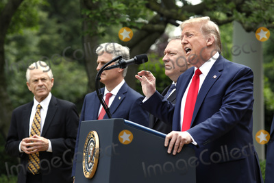 White House Photo - United States President Donald J Trump delivers remarks on China in the Rose Garden at the White House in Washington DC on May 29 2020 Pictured from left to right Peter Navarro Director of Trade and Industrial Policy and Director of the White House National Trade Council US National Security Advisor Robert C OBrien US Secretary of State Mike Pompeo and the presidentCredit Yuri Gripas  Pool via CNPAdMedia