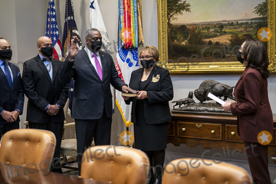 White House Photo - United States Vice President Kamala Harris takes part in a ceremonially swearing-in for Lloyd J Austin III as Secretary of Defense in the Roosevelt Room of the White House in Washington DC on Monday January 25 2021Credit Doug Mills  Pool via CNPAdMedia