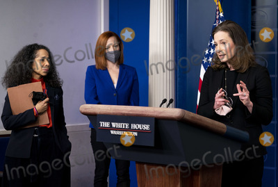 Executive Director Photo - Co-Chair and Executive Director of the Gender Policy Council Jennifer Klein (R) speaks alongside White House Press Secretary Jen Psaki (C) and Co-Chair of the Gender Policy Council and Chief of Staff to the First Lady Julissa Reynoso during a press briefing at the White House in Washington DC on Monday March 8 2021 Today President Biden signed an executive order on to establish the Gender Policy Council that will work to advance gender equality Credit Kevin Dietsch  Pool via CNPAdMedia