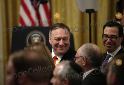 Benjamin Netanyahu Photo - US Secretary of State Mike Pompeo attends a meeting with United States President Donald J Trump and Israels Prime Minister Benjamin Netanyahu in the East Room of the White House in Washington DCon Tuesday January 28 2020 Credit Joshua Lott  CNPAdMedia