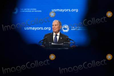 Michael Bloomberg Photo - Former Mayor of New York and current Democratic presidential candidate Michael Bloomberg delivers remarks at the United States Conference of Mayors 88th Winter Meeting at the Capital Hilton Hotel in Washington DC US on Wednesday January 22 2020Credit Stefani Reynolds  CNPAdMedia