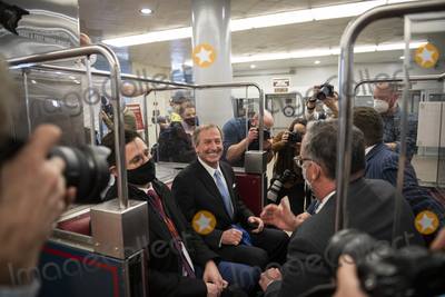 Train Photo - Defense lawyer for former President Donald J Trump Michael van der Veen celebrates in a Senate subway train car after the US Senate voted 57-43 to acquit former President Donald J Trump on an impeachment charge of inciting the attack on the US Capitol on January 6 202 at the US Capitol in Washington DC Saturday February 13 2021 Credit Rod Lamkey  CNPAdMedia