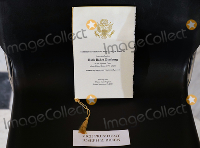 Joseph R Biden Jr Photo - A seat reserved for Joseph R Biden Jr for Justice Ruth Bader Ginsburg laying in state in Statuary Hall of the Capitol in Washington DC on September 25 2020 Credit Erin Schaff  Pool via CNPAdMedia
