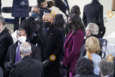 Barack Obama Photo - Former United States President Barack Obama greets guests with former first lady Michelle Obama and former US President George W Bush prior to Joe Biden takes the Oath of Office as the 46th President of the US at the US Capitol in Washington DC on Wednesday January 20 2021  Credit Chris Kleponis  CNPAdMedia