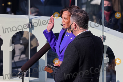 Supremes Photo - WASHINGTON DC - JANUARY 20  Kamala Harris is sworn as US Vice President by US Supreme Court Associate Justice Sonia Sotomayor as her husband Doug Emhoff looks on at the inauguration of US President-elect Joe Biden on the West Front of the US Capitol on January 20 2021 in Washington DC  During todays inauguration ceremony Joe Biden becomes the 46th president of the United States (Photo by Tasos KatopodisGetty Images)AdMedia