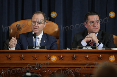 Alex Wong Photo - United States Representative Adam Schiff (Democrat of California) Chairman US House Permanent Select Committee on Intelligence (L) speaks while US Representative Devin Nunes (Republican of California) Ranking Member US House Permanent Select Committee on Intelligence looks on during the testimony of former US Ambassador to Ukraine Marie Yovanovitch before the US House Intelligence Committee in the Longworth House Office Building on Capitol Hill November 15 2019 in Washington DC In the second impeachment hearing held by the committee House Democrats continue to build a case against US President Donald Trumps efforts to link US military aid for Ukraine to the nations investigation of his political rivals Credit Alex Wong  Pool via CNPAdMedia