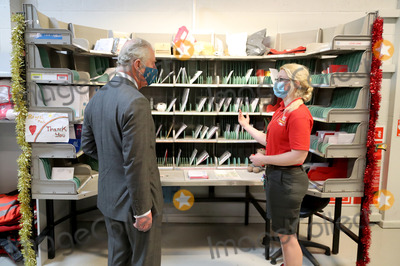 Prince Photo - 18th December 2020 - Prince Charles Prince of Wales wearing a mask because of the coronavirus pandemic arrives to visit Royal Mails Delivery Office in Cirencester Gloucestershire Prince Charles visited the Royal Mail in Cirencester to recognise the vital public services that the countrys postal workers provide especially during the coronavirus pandemic and in the run-up to Christmas Photo Credit ALPRAdMedia