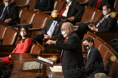Alaska  Photo - United States Representative Don Young (Republican of Alaska) dean of the House addresses House Speaker Nancy Pelosi (D-Calif) on the opening day of the 117th Congress at the US Capitol in Washington DC on January 03 2021  Credit Bill OLeary  Pool via CNPAdMedia