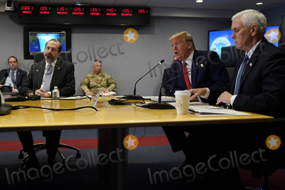 Alex Azar Photo - United States President Donald J Trump second from right speaks during a teleconference with governors at the Federal Emergency Management Agency headquarters Thursday March 19 2020 in Washington DC US Vice President Mike Pence is at right and US Secretary of Health and Human Services (HHS) Alex Azar at leftCredit Evan Vucci  Pool via CNPAdMedia