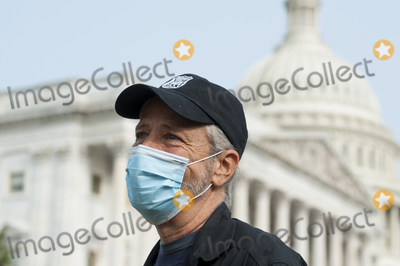 Jon Stewart Photo - Comedian Jon Stewart talks with reporters prior to a press conference regarding legislation to assist veterans exposed to burn pits outside the US Capitol in Washington DC Tuesday September 15 2020Credit Rod Lamkey  CNPAdMedia