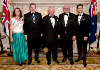 Wale Photo - 12032020 - Prince Charles Prince of Wales (C) poses with (L-R) Hilary Russell the Lord Mayor of the City of London William Russell the High Commissioner for Australia George Brandis and guest as they attend a dinner in aid of the Australian bushfire relief and recovery effort at Mansion House in London Photo Credit ALPRAdMedia