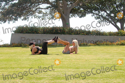 The Fames Photo - Suzie Malone Frenchy Morganthe Celebrity Big Brother Star and the Famed Burlesque Performer are spotted working out together on the lawn of Pepperdine Universitry in Malibu CA 08-11-17