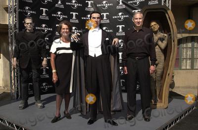 Bela Lugosi Jr Photo -  Sara Karloff and Bela Lugosi Jr at the unveiling of Madame Tussauds lifelike wax portraits of Dracula Frankensteins Monster and The Mummy Universal Studios 10-10-01