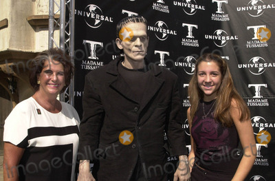 Sara Karloff Photo -  Sara Karloff and Kacey at the unveiling of Madame Tussauds lifelike wax portraits of Dracula Frankensteins Monster and The Mummy Universal Studios 10-10-01