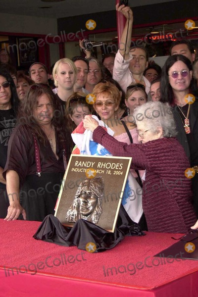 Randy Rhoads Photo - Delores Rhoads unveils her son Randy Rhoads misspelled plaque at the ceremony posthumously inducting guitarist Randy Rhodes into Hollywoods Rockwalk on Sunset Boulevard Hollywood CA 03-18-04